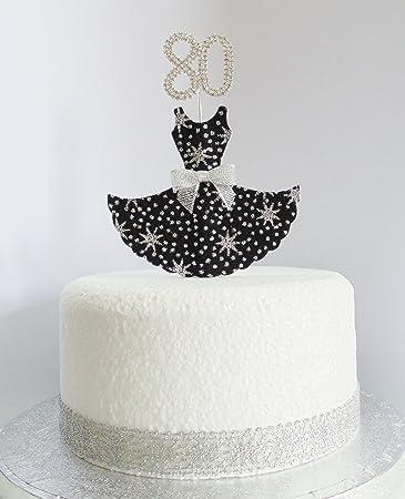 80 Geburtstag Kuchen Dekoration Schwarz Und Silber Star Kleid Mit