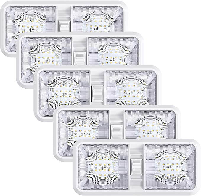 2 White LED 4.5 inch Round Camper RV Trailer Utility Dome Lights Switch