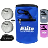 Elite Sportz Chalk Bag and 2 x Chalk Balls - Quick-Clip Belt with for Rock Climbing, Weight Lifting, Bouldering and Gymnastics - Tight Fitting Drawstring for No Leakage and a Secure Zip Pocket