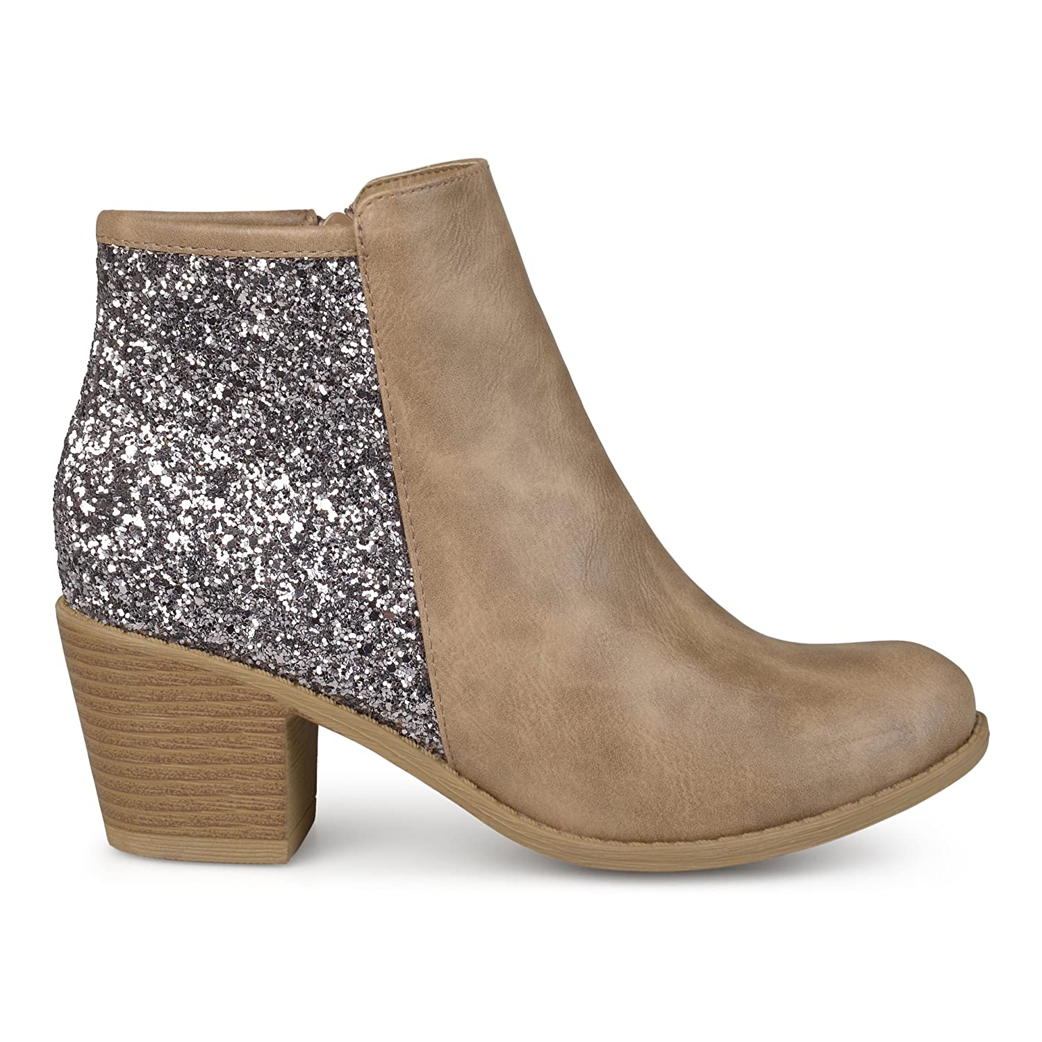 cb10b140eaa006 Womens Faux Leather Wood Stacked Heel Glitter Booties