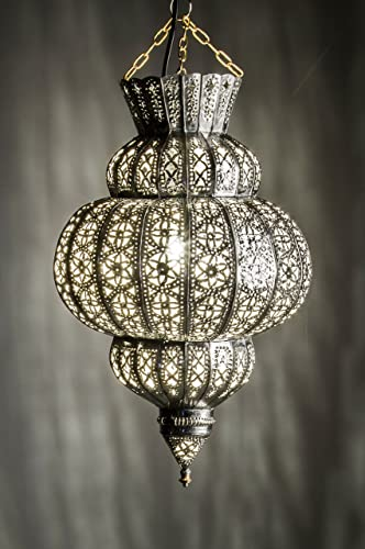 Lampada Orientale Lampada A Sospensione Argentata Harem 60 Cm