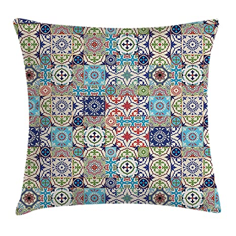 DHNKW Patchwork Throw Pillow Cushion Cover, Ancient Azulejo ...