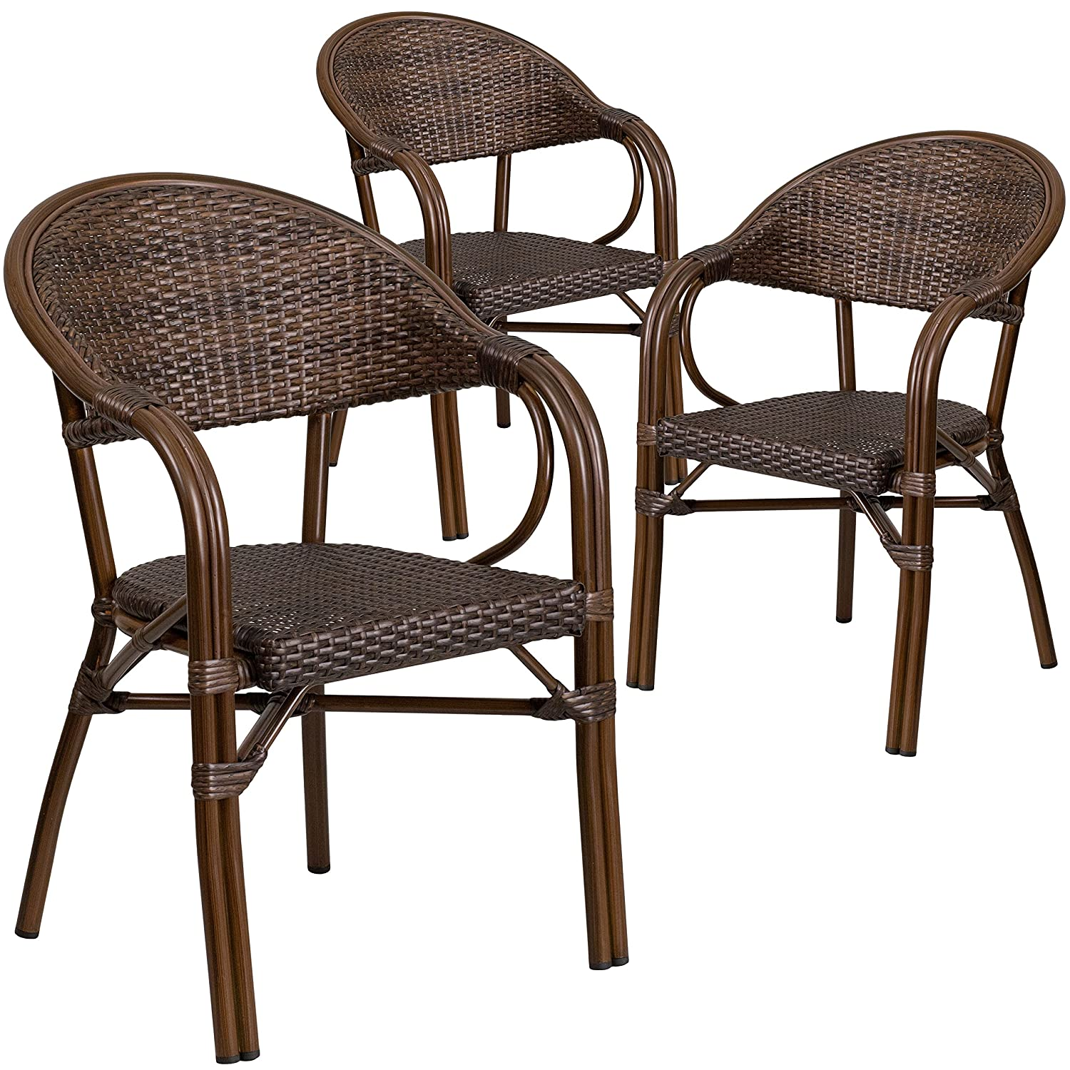 Amazon com flash furniture 3 pk milano series bark brown rattan restaurant patio chair with bamboo aluminum frame kitchen dining