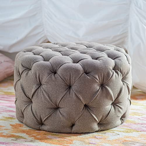 Allover Tufted Round Ottoman – Brown .