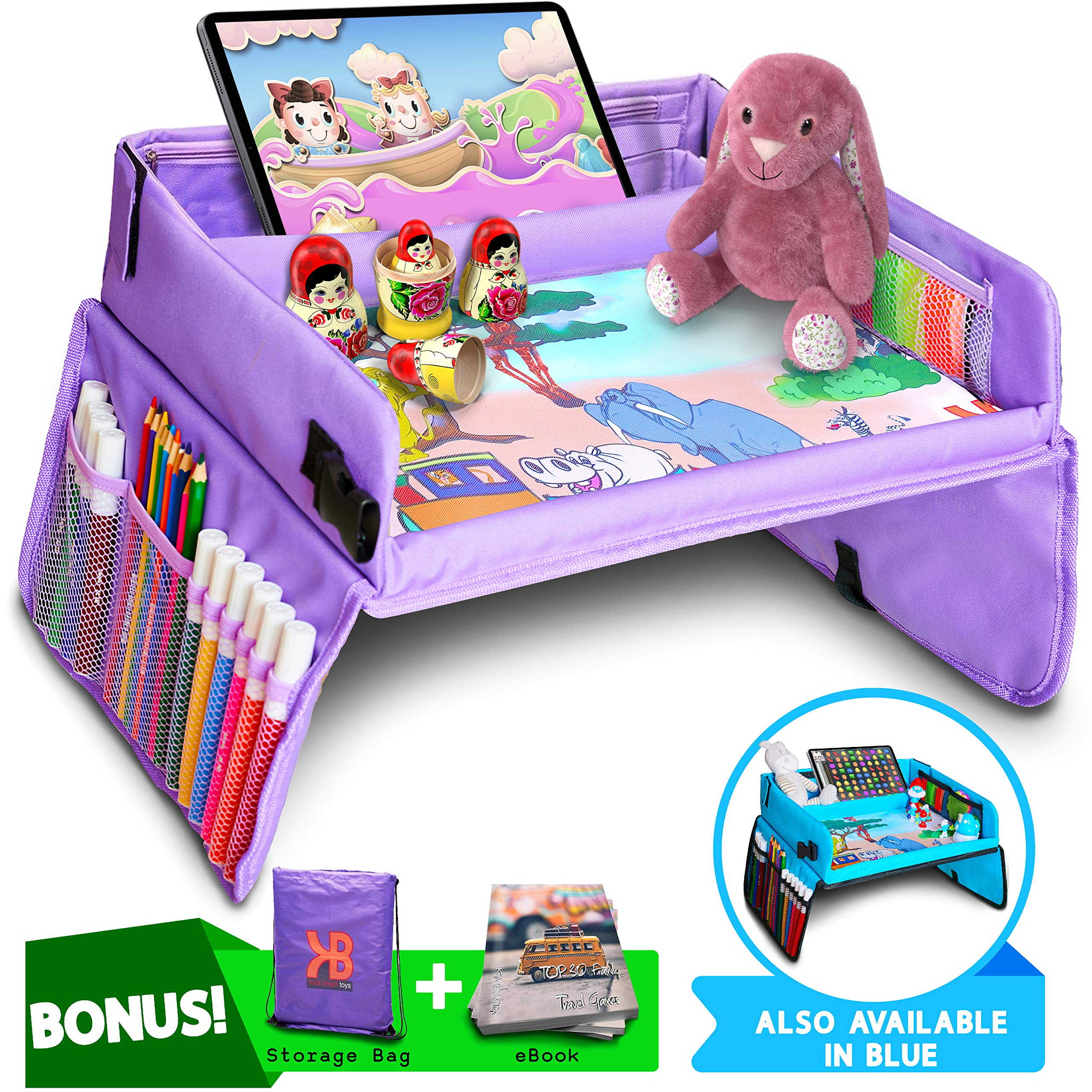 Kids Travel Tray, Car Seat Tray for Toddler + Free Bag & E-Book - Keeps Children Entertained by KIDS BRIGHT TOYS