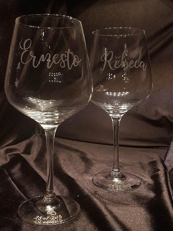 Copas Vino Talladas a Mano con Estuche de lujo.(mod. Fénix talla Nombres): Amazon.es: Handmade