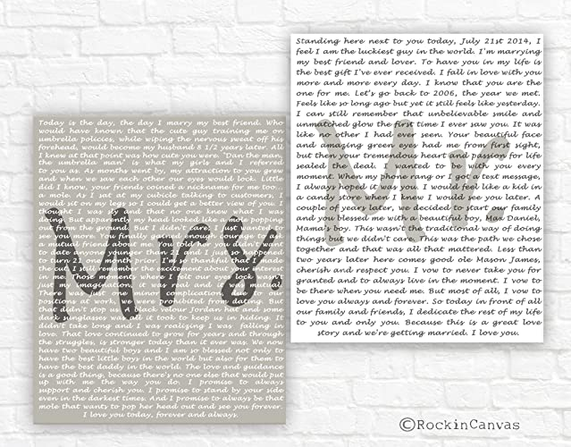 Amazon.com: Set of 2 canvas vows Framed vows Cotton Anniversary Gift ...