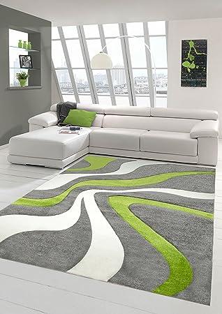 Fantastisch Designer Teppich Moderner Teppich Wohnzimmer Teppich Kurzflor Teppich Mit  Konturenschnitt Wellenmuster Grün Grau Weiss Größe 60x110