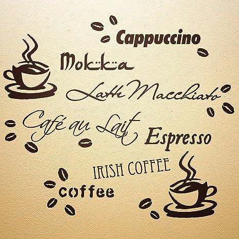 Wandfee Wandtattoo Kuche Kaffee Spruch Kaffeetasse Kaffeebohnen Wandsticker Coffee Cafe Wandaufkleber Dunkelbraun Amazon De Baumarkt