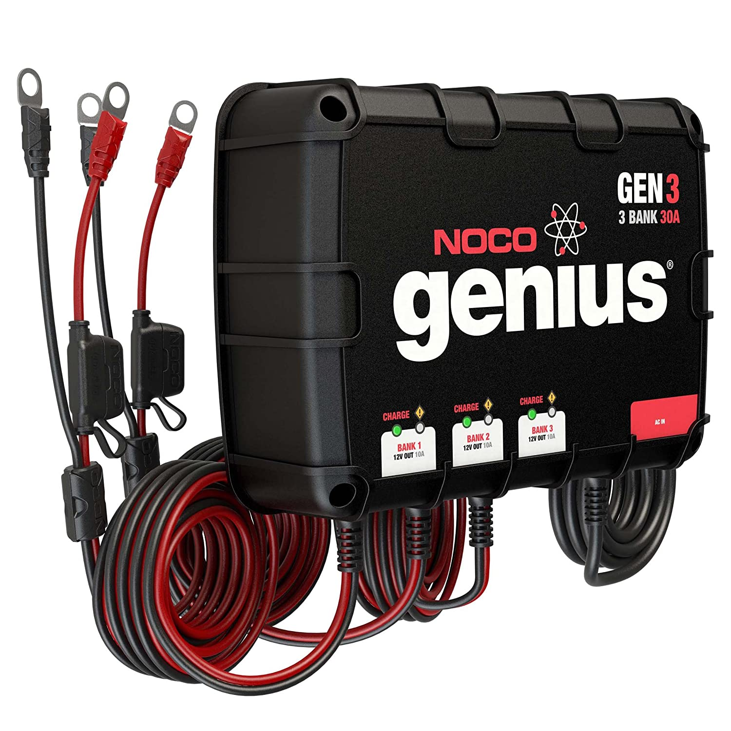 Amazon.com: NOCO Genius GEN3 30 Amp 3-Bank Waterproof Smart On-Board Battery  Charger: Automotive