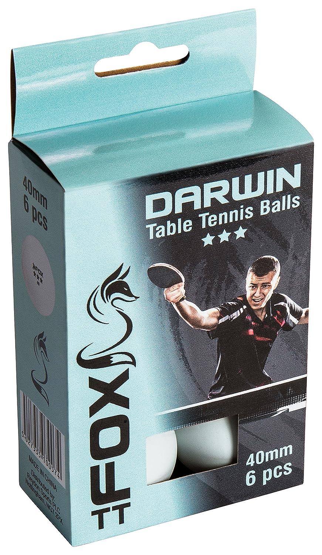 Fox TT Darwin 3 Star Table Tennis Balls White Pack of 6