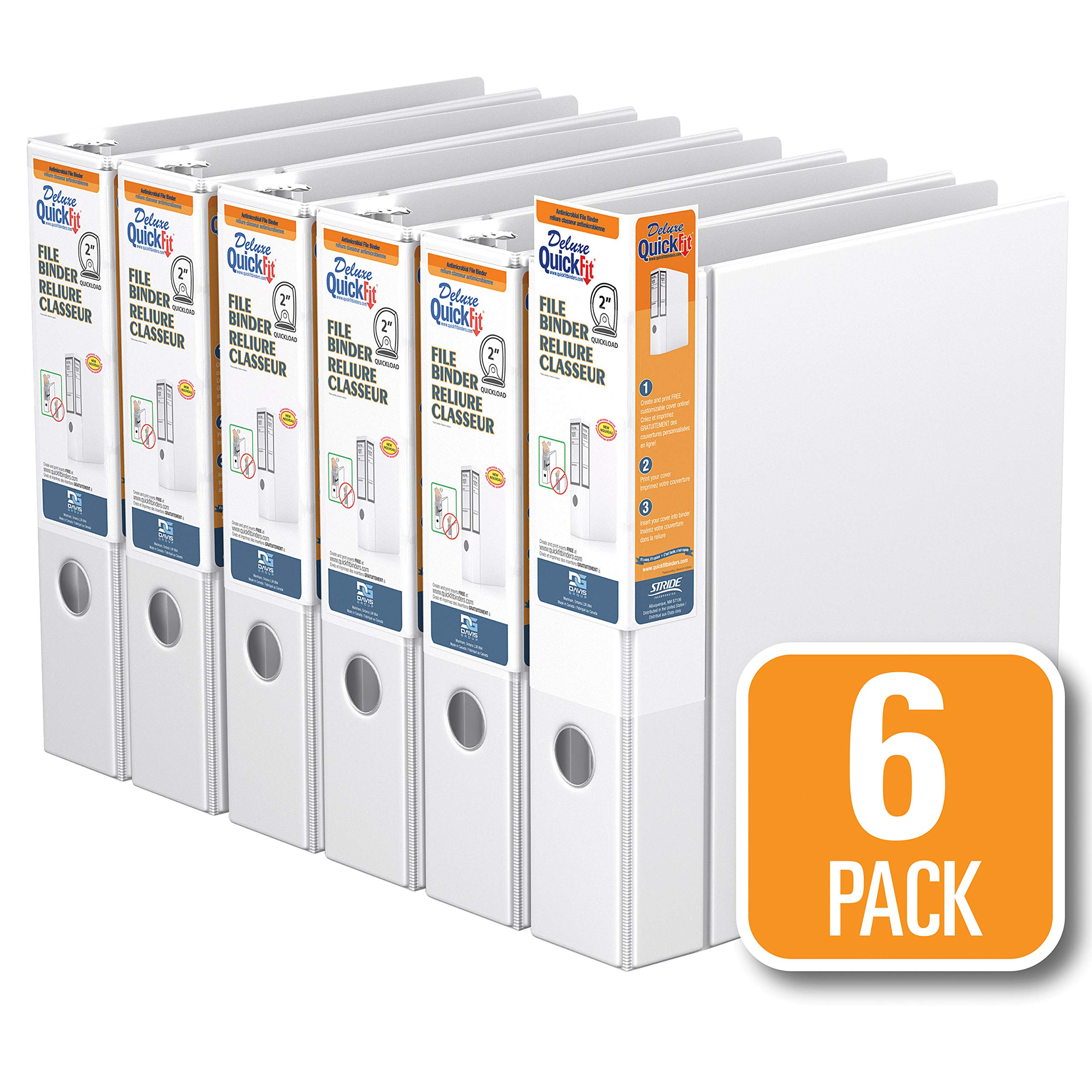 QuickFit Heavy Duty File Binder, 2 Inch, D Ring, White, 6 Pack (28030-06) by QuickFit