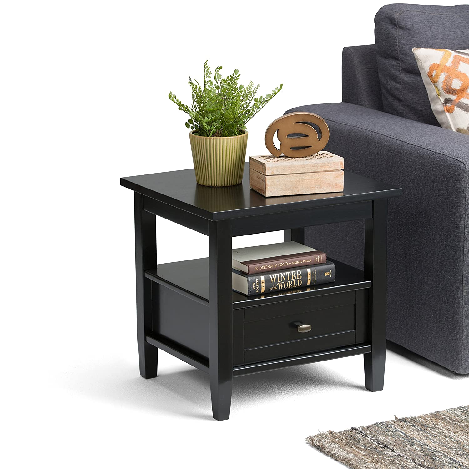 Amazon Simpli Home Warm Shaker End Table Black Kitchen & Dining