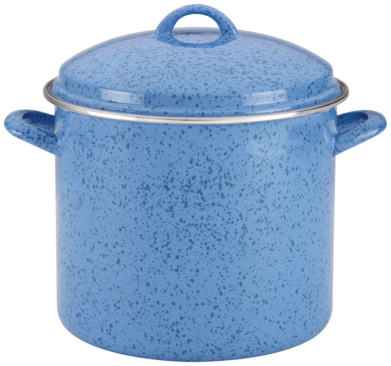 Paula Deen Signature esmalte sobre acero 12-quart olla, color azul moteado: Amazon.es: Hogar