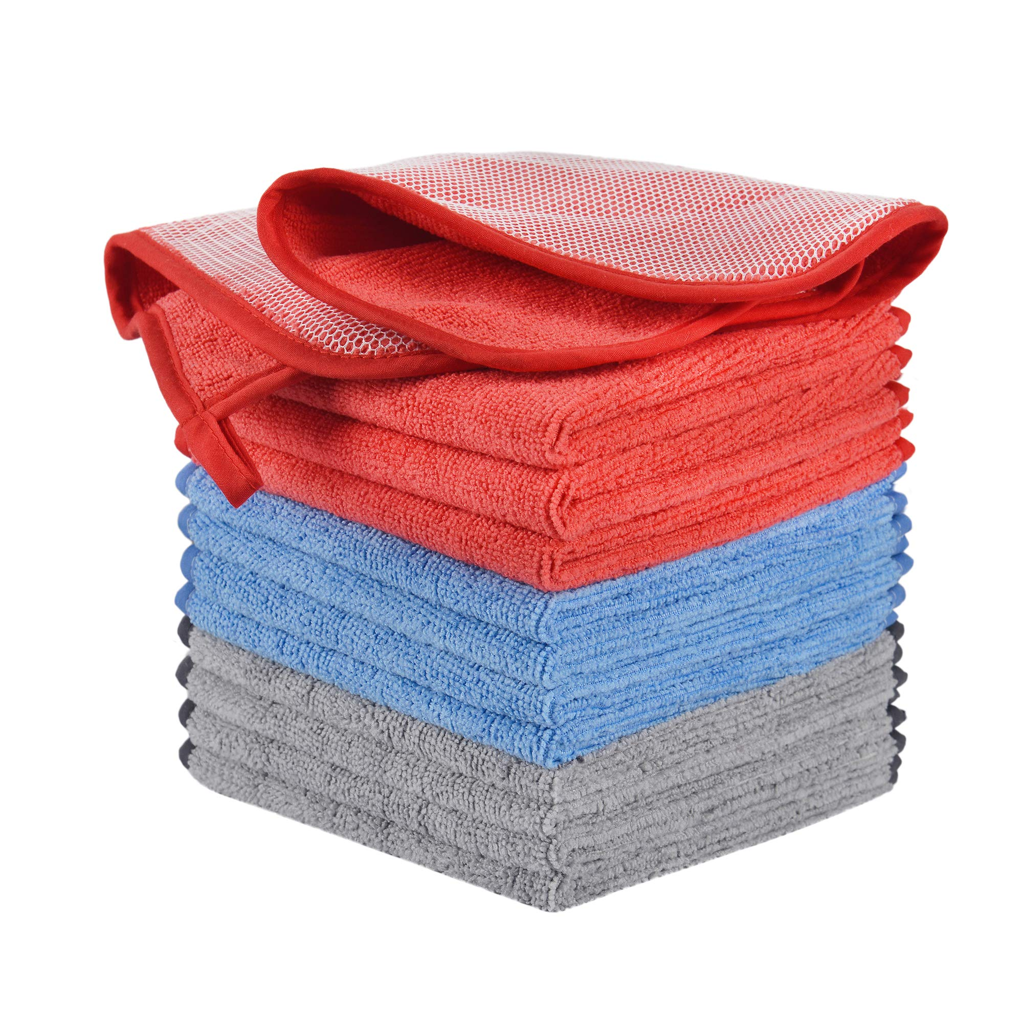 Luckiss Soft Microfiber Dish Cloths High Absorbent Fast Drying Household Bar Mop Dish Washing and Cleaning Cloths Cloth with Poly Scour Side for Kitchen Window Glass Car Wash 12 X 12 inch
