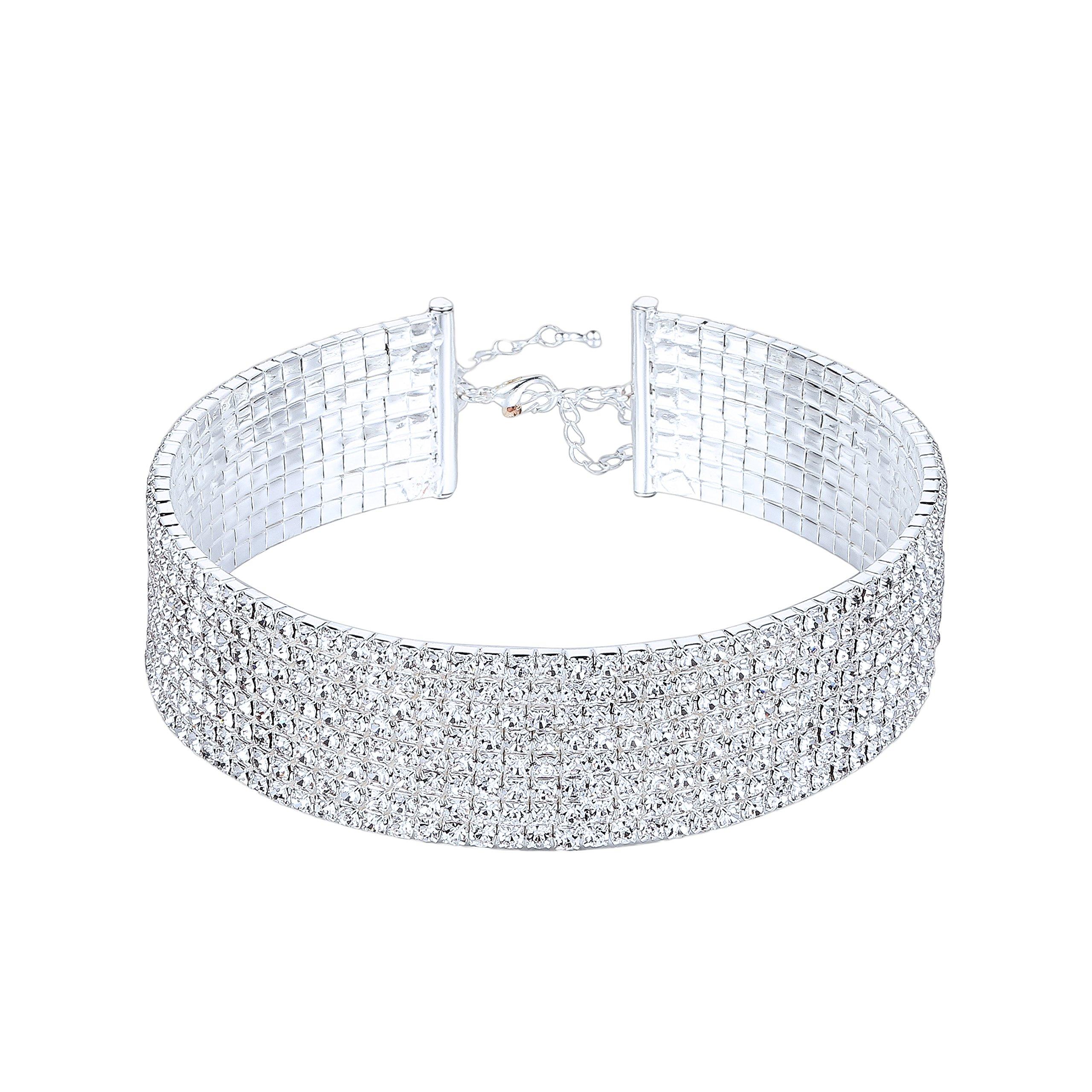 Clear Rhinestone Crystal Choker Necklace Wedding Collar Necklace Birthday Jewelry (8-Row)