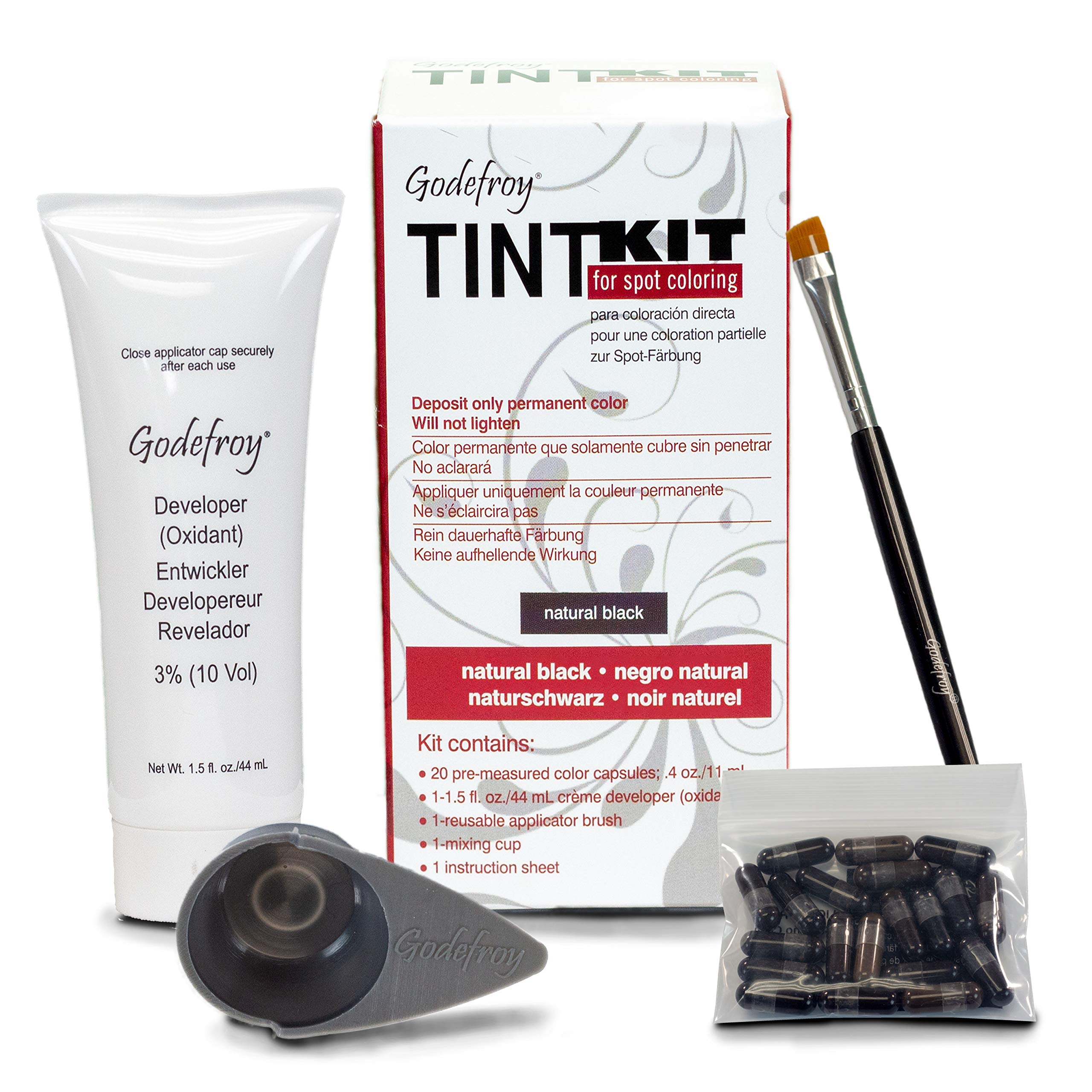 GHODEFROY Tint Kit, Natural Black, 20 pre-measured color capsules
