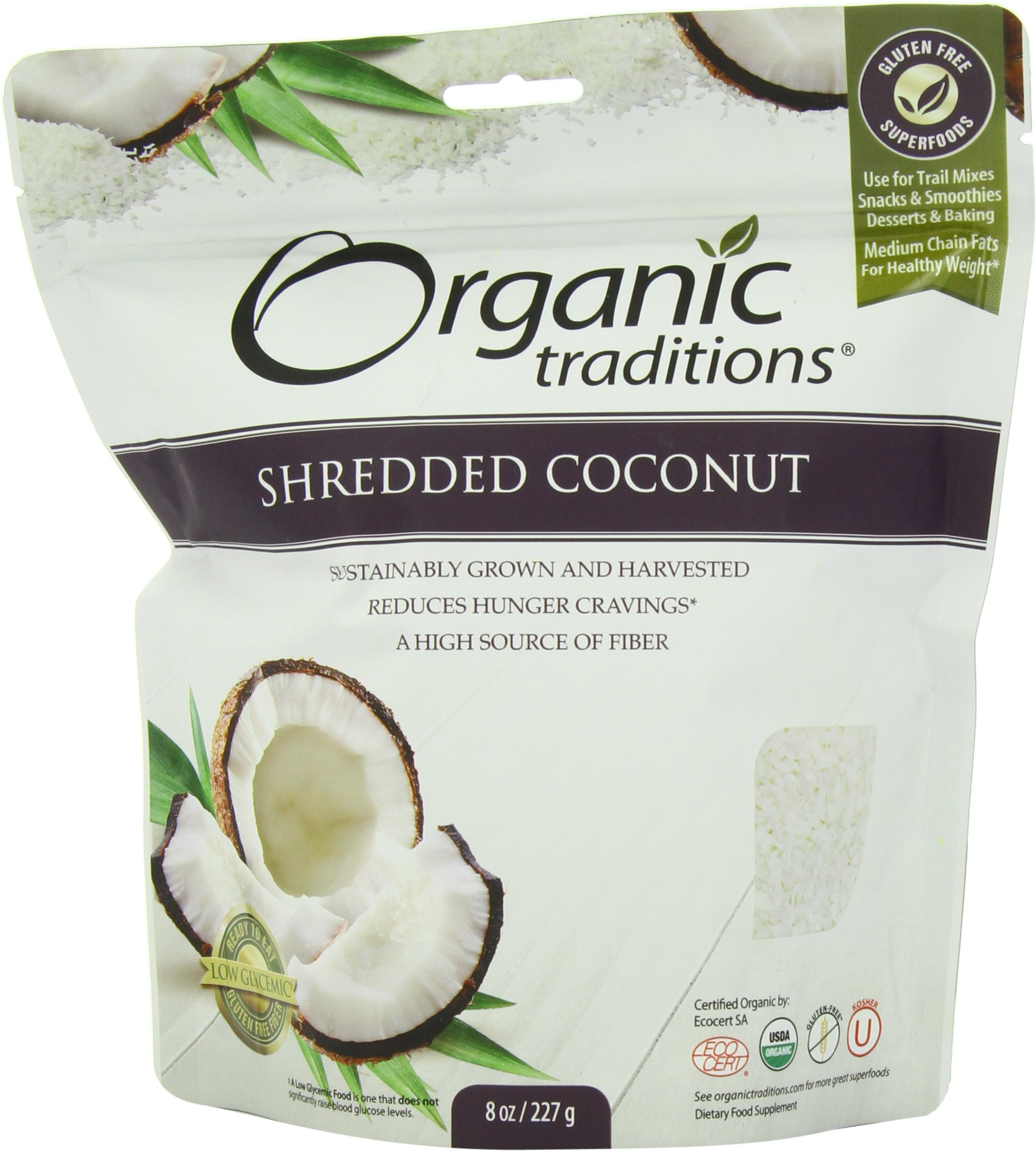 Organic Traditions Organic Shredded Coconut, 8 Ounce (Pack of 12)