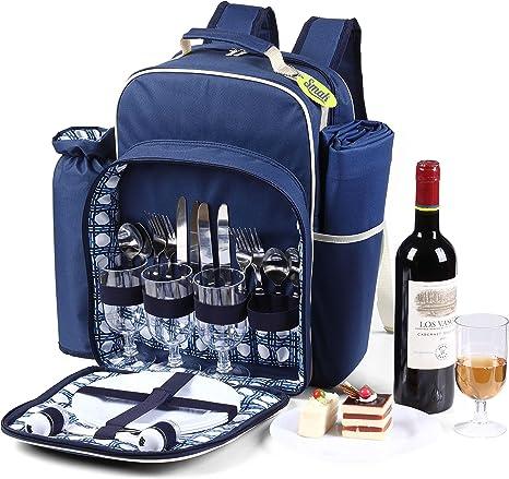 Smak | Mochila de picnic Bolsa de picnic para 4 personas | Equipo de camping Arnés Cubiertos Placa Manta | La mochila de picnic más adecuada para el ...
