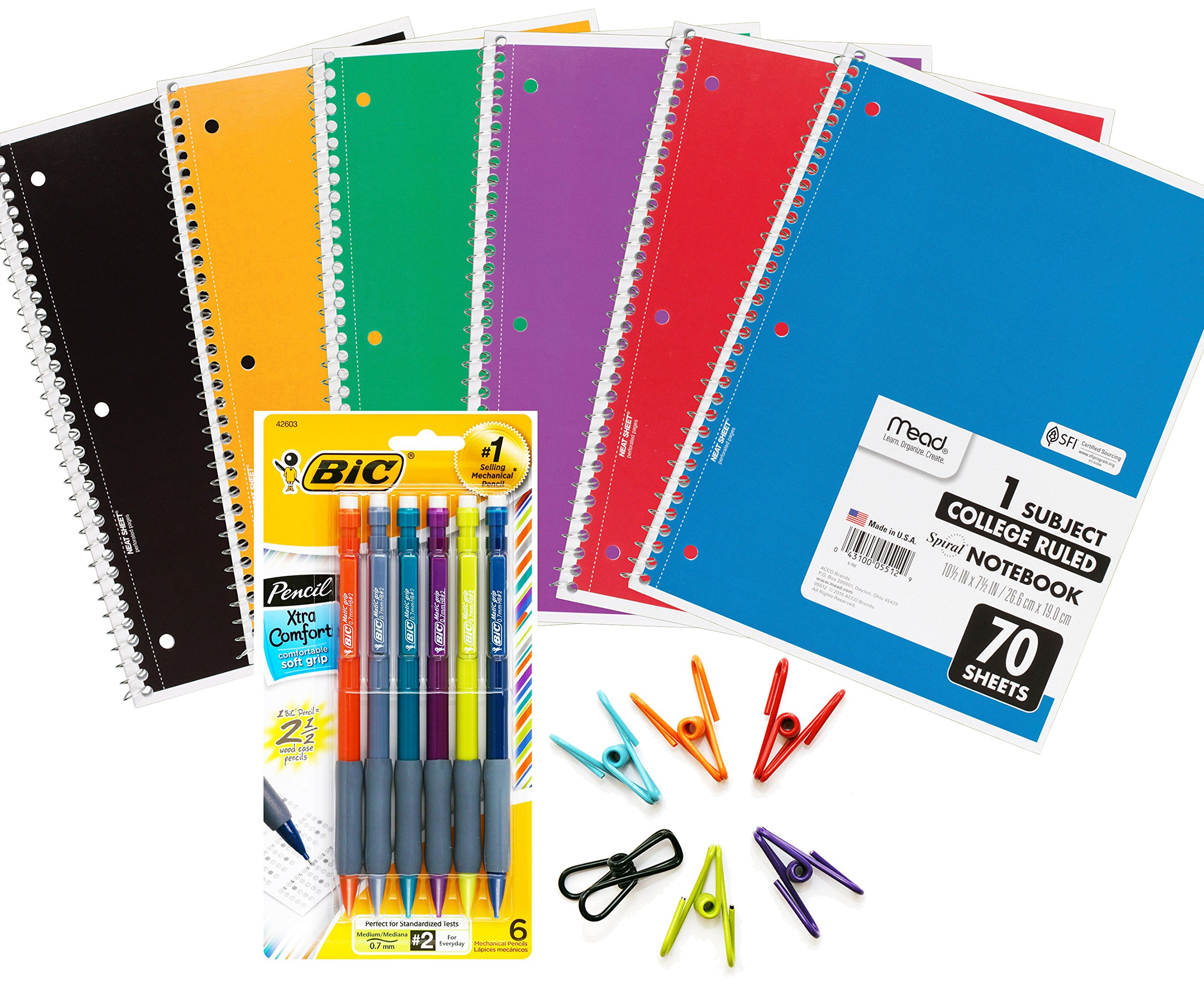 Mead Spiral One Subject College Ruled Color Notebooks Pack (6) Bundle with BIC Mechanical Pencil and Multi Purpose Clips for Back to School, Elementary, High School and College Supplies