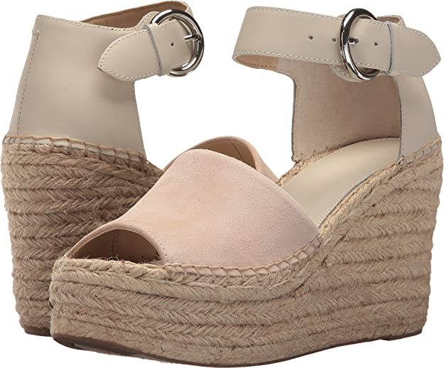 Marc Fisher LTD Women's Alida Espadrille Wedge Ivory Suede 7.5 M US