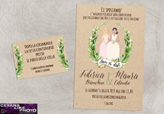 Partecipazioni matrimonio personalizzate - inviti nozze greenery spose arcobaleno lei+lei 10 pz