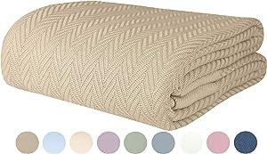 Threadmill Home Linen Herringbone Soft Breathable 100% Cotton Blanket Twin Size Beige