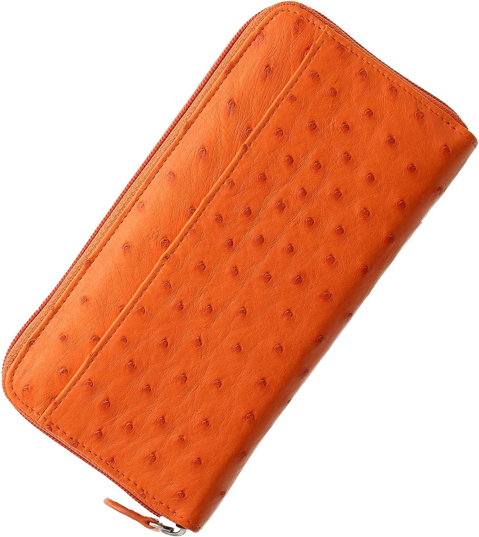 財布 レディース 長財布 オーストリッチ フルポイント ラウンドファスナー B005IES14A オレンジ オレンジ