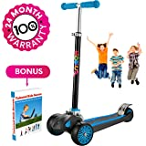 "Scooter For Kids, Maxi Foldable Kick Scooter Deluxe, handlebars adjustable age 5-12, Surface Balance Technology 2""widthX3 Wheels 24 Months Guarantee eBookGift Talented Kids Secrets"