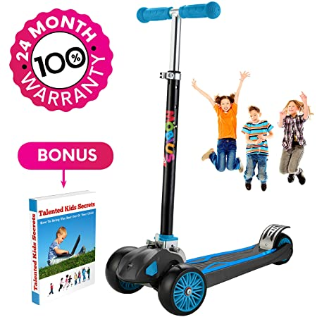 Scooter For Kids, Maxi Foldable Kick Scooter Deluxe, handlebars adjustability from age 5-12, Surface-safety Balance Technology, 2 widthX3 Wheels, 24 Months Guarantee, eBookGift Talented Kids Secrets