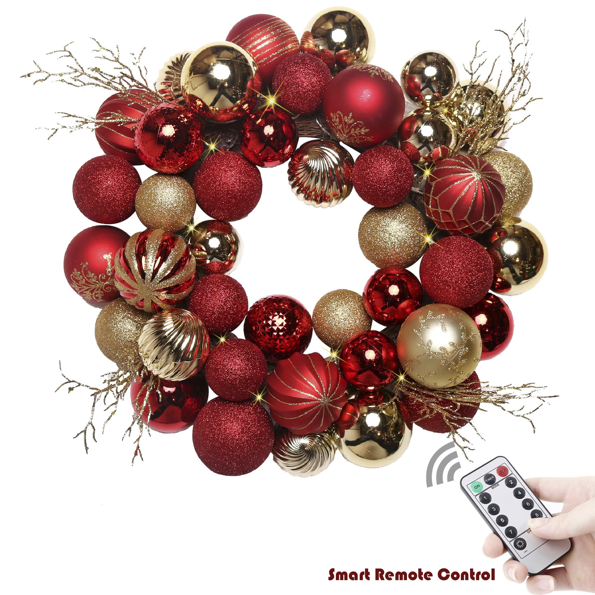 Valery Madelyn 20'' Pre-Lit Luxury Red and Gold Christmas Wreath with Shatterproof Ball Ornaments, Rattan Base and 20 LED Lights, Remote and Timer Included, Themed with Tree Skirt(Not Included)