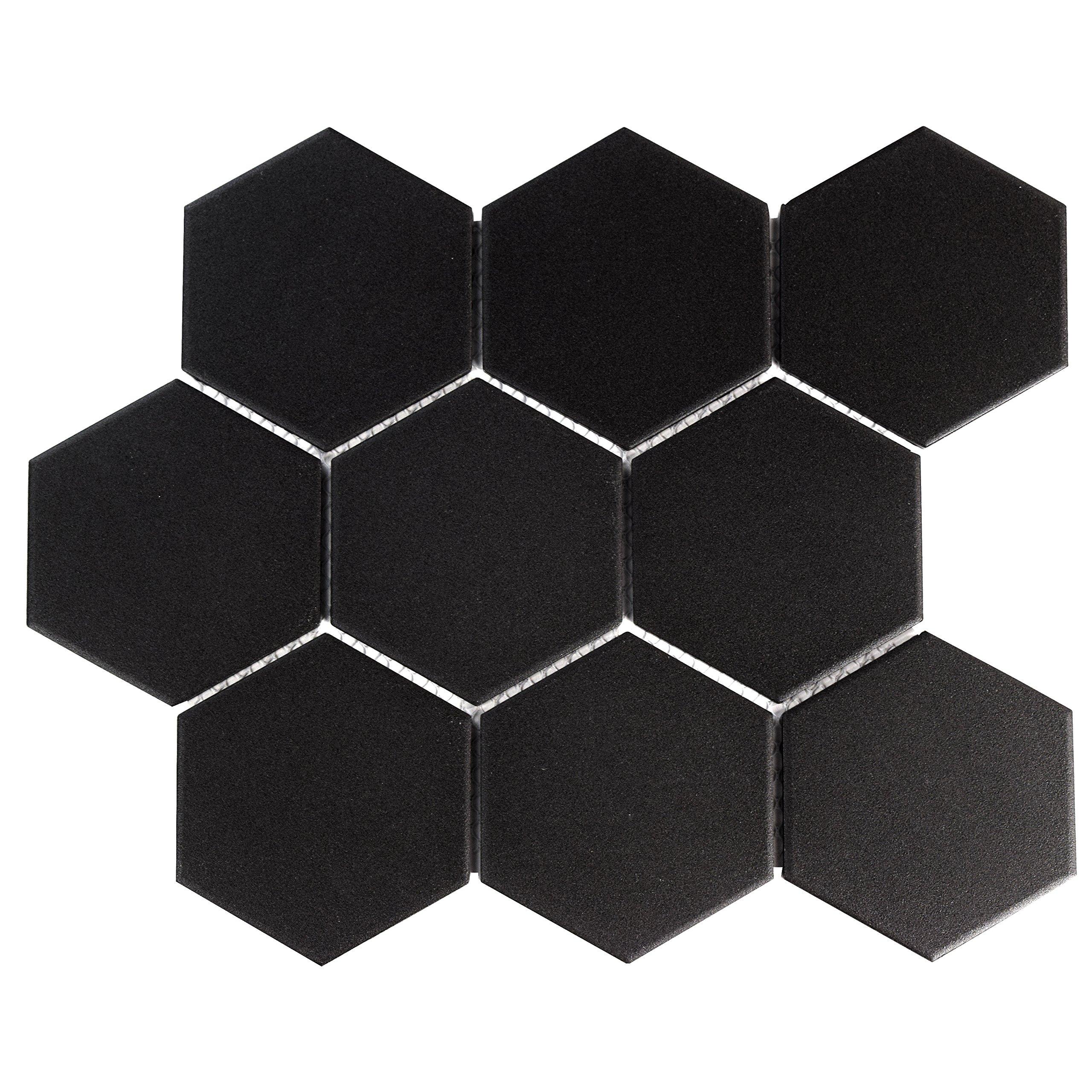SomerTile FXLG4HBK Antique Super Hex Unglazed Porcelain Mosaic Floor and Wall Tile 10 Piece, 10'' x 11.5'', Black