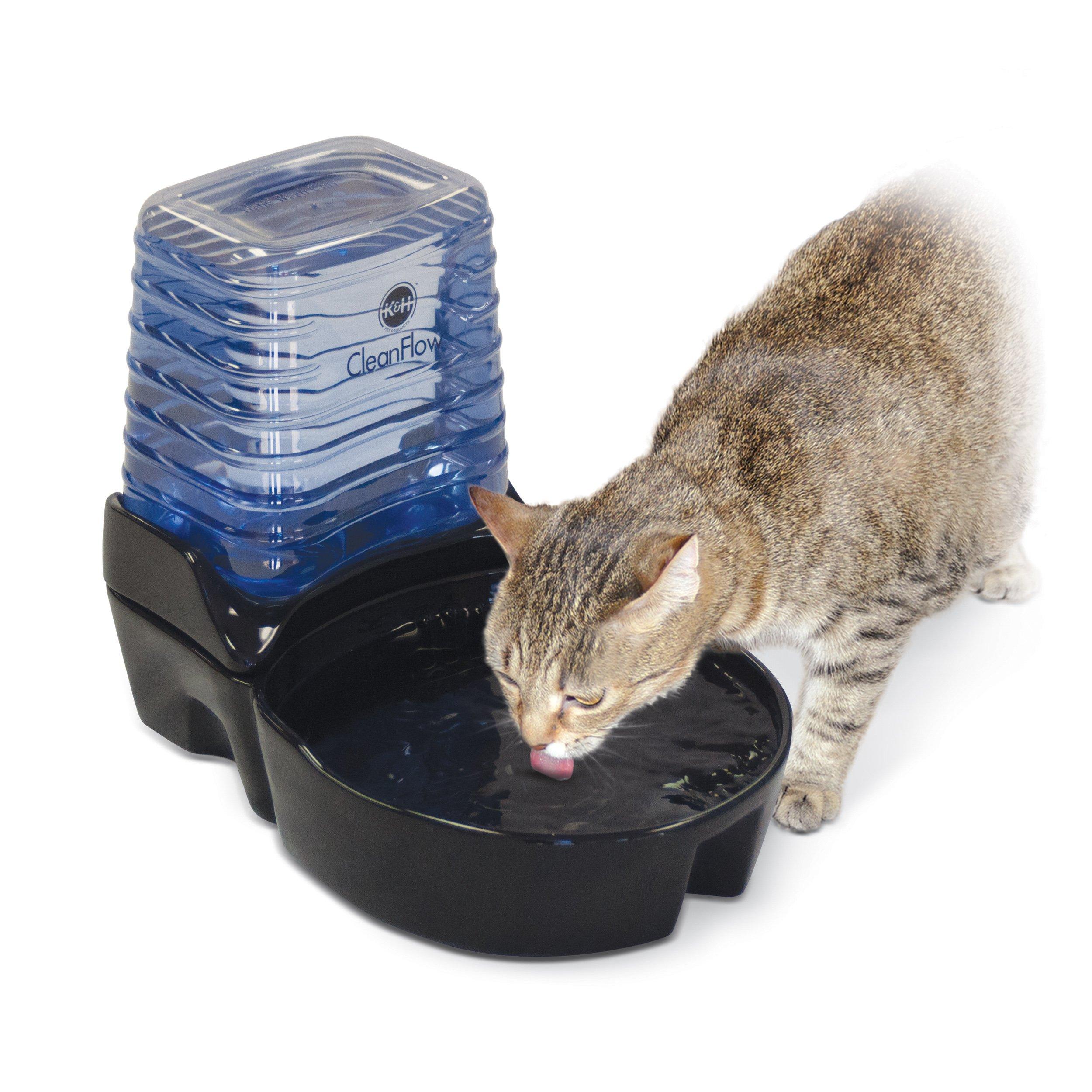 K&H Pet Products CleanFlow Filtered Pet Water Bowl Ceramic With Reservoir Cat 80oz. + 90oz. Black