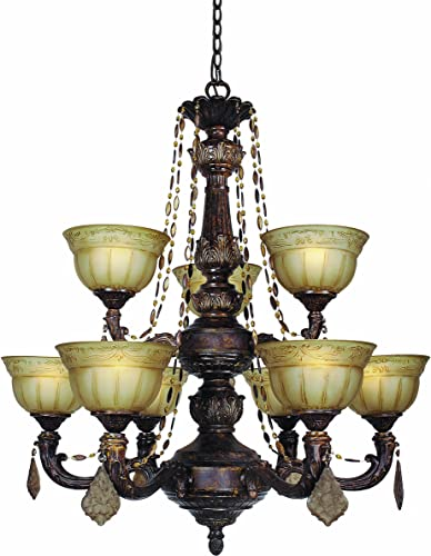 Woodbridge Lighting 12152-OWB 9-Light Lucerne Chandelier, 31.5 x 36.25 , Old World Bronze