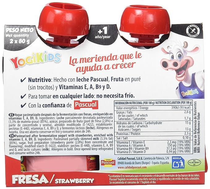 Pascual Yogur Liquido de Fresa - Paquete de 2 x 80 gr - Total: 160 gr - [Pack de 9]: Amazon.es: Alimentación y bebidas