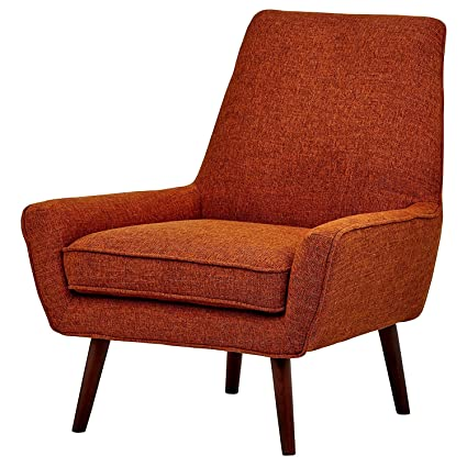 Low Arm Chair Heavy Duty Wooden Frame Orange Fabric Padded Cushion Classic  Comfy Large Living Room