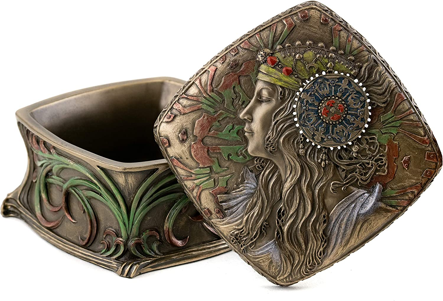 Top Collection Iconic Art Nouveau Antique Replica Collectible Jewelry Box- Decorative French Box in Premium Cold Cast Bronze- 4-Inch Long Ornamental Earring and Necklace Trinket Box