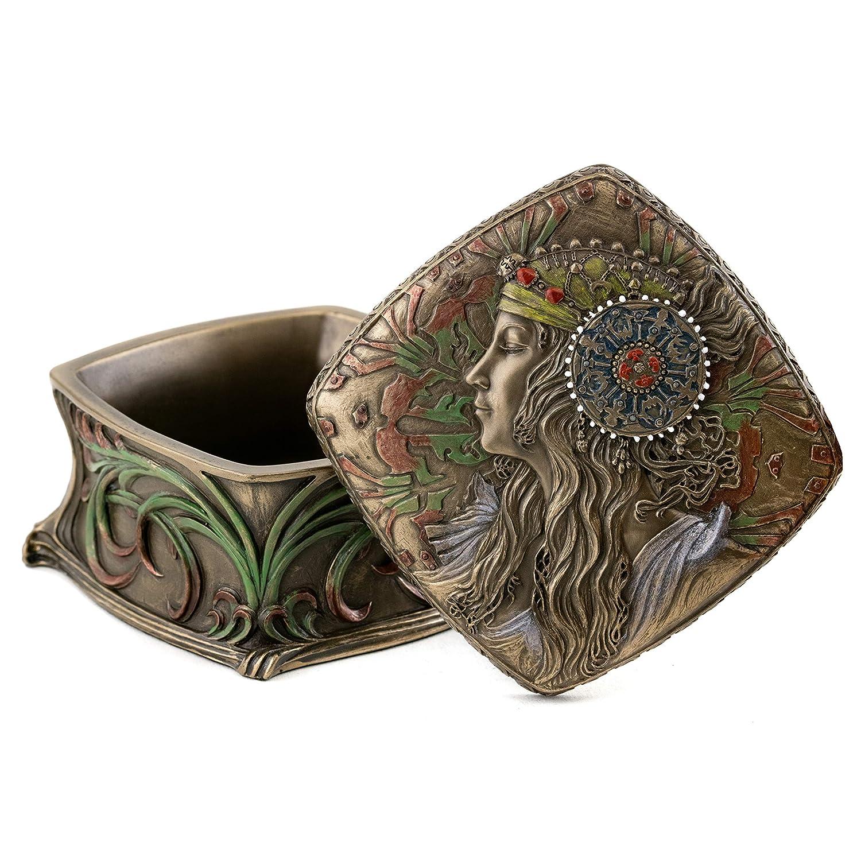 Bronze Powder Cast Art Nouveau Alphonse Mucha Jewelry Box