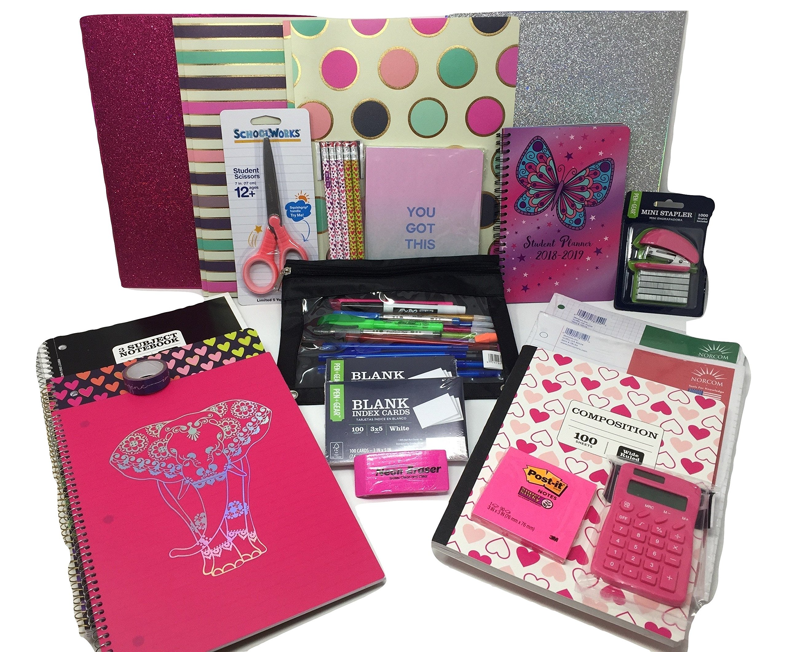 Back to School Trendy Girl Middle School High School College Mega Supply Kit Bundle - Paper, Notebooks, Index Cards, Pens, Pencils, Student Planner & More