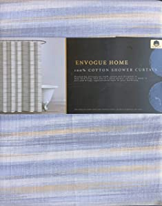 Envogue Designer Shower Curtain Diffused Abstract Stripe Pattern in Shades of Gray Tan Cream Light Blue 100% Cotton Luxury