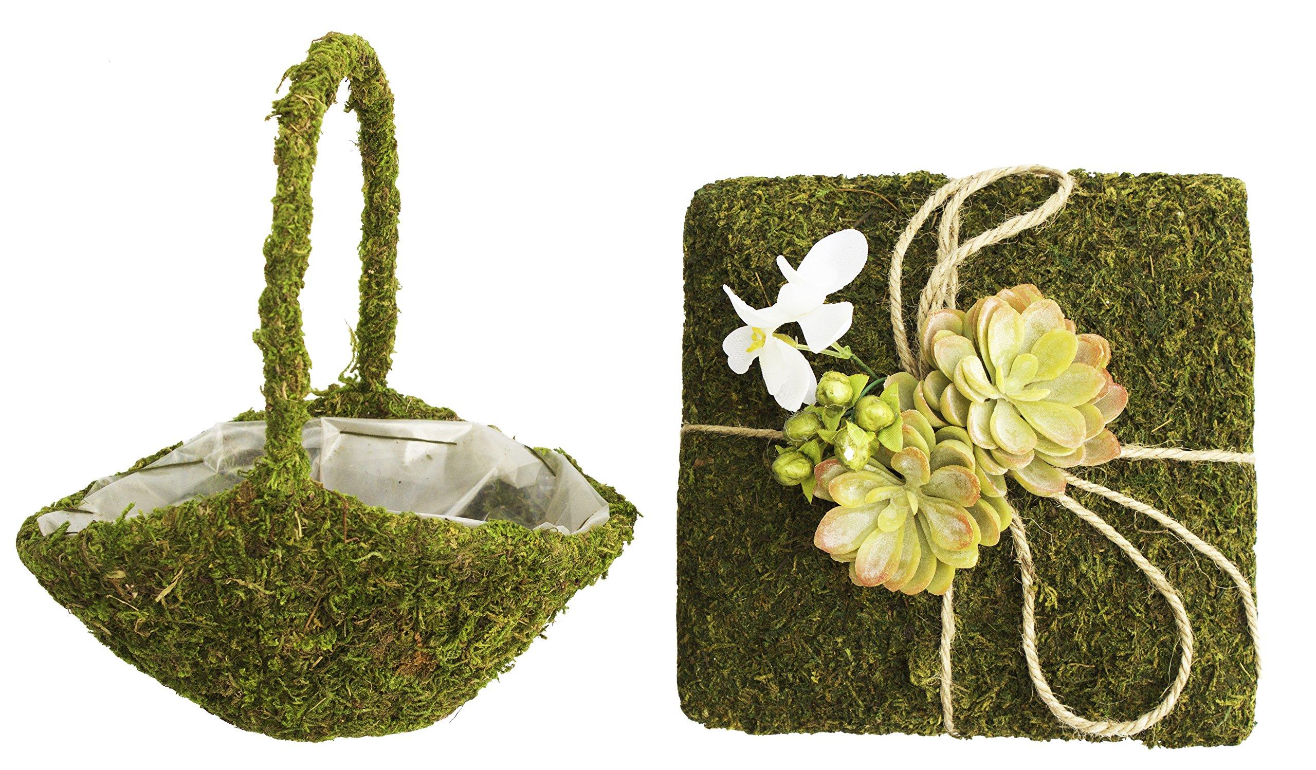 Bundle of Lillian Rose Ring Bearer Pillow and Flower Girl Basket (Moss)
