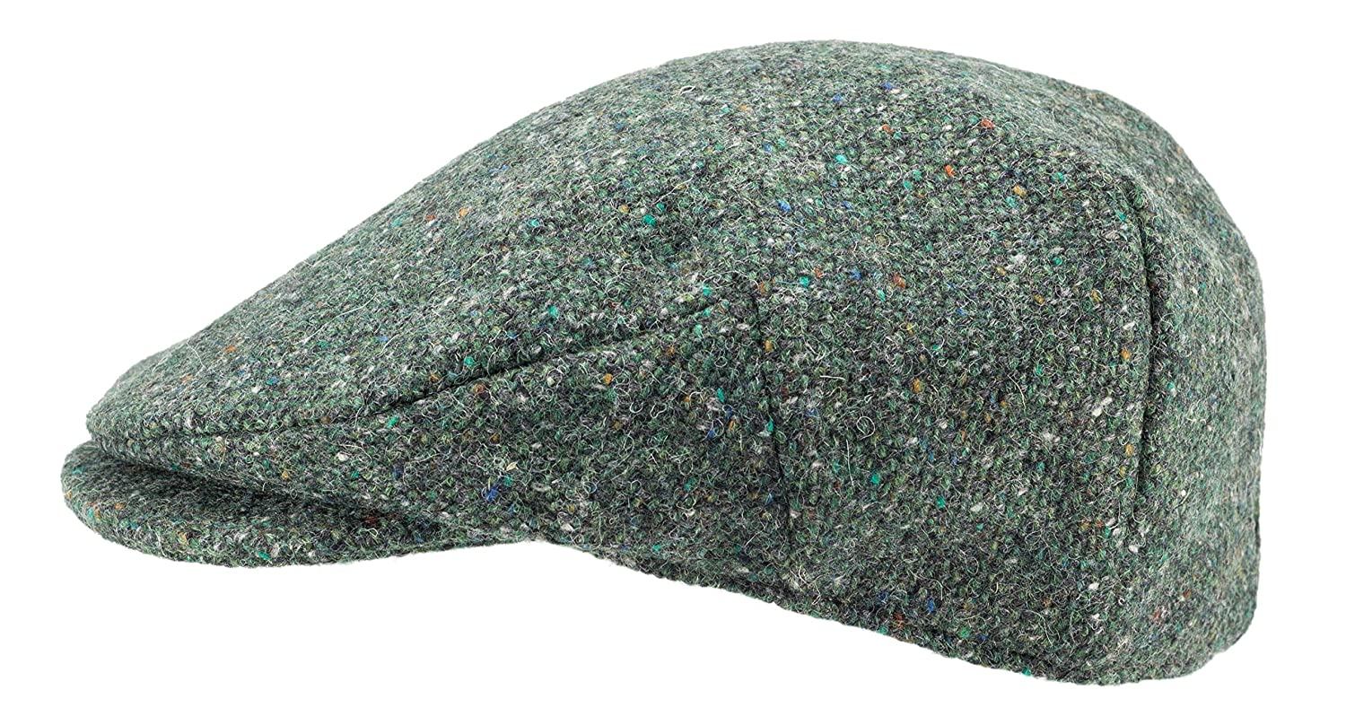abf588a7d4b Hanna Hats of Donegal.Irish Flat Cap.Donegal Tweed.Green Salt and Pepper at  Amazon Men s Clothing store
