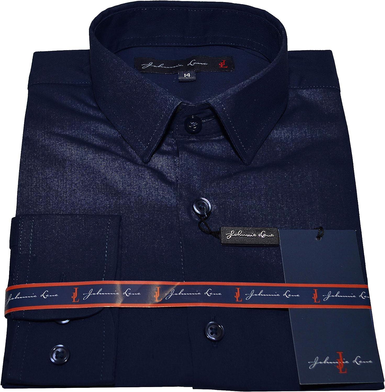 Johnnie Lene Big Boys Long Sleeve Dress Shirt Tie Handkerchief