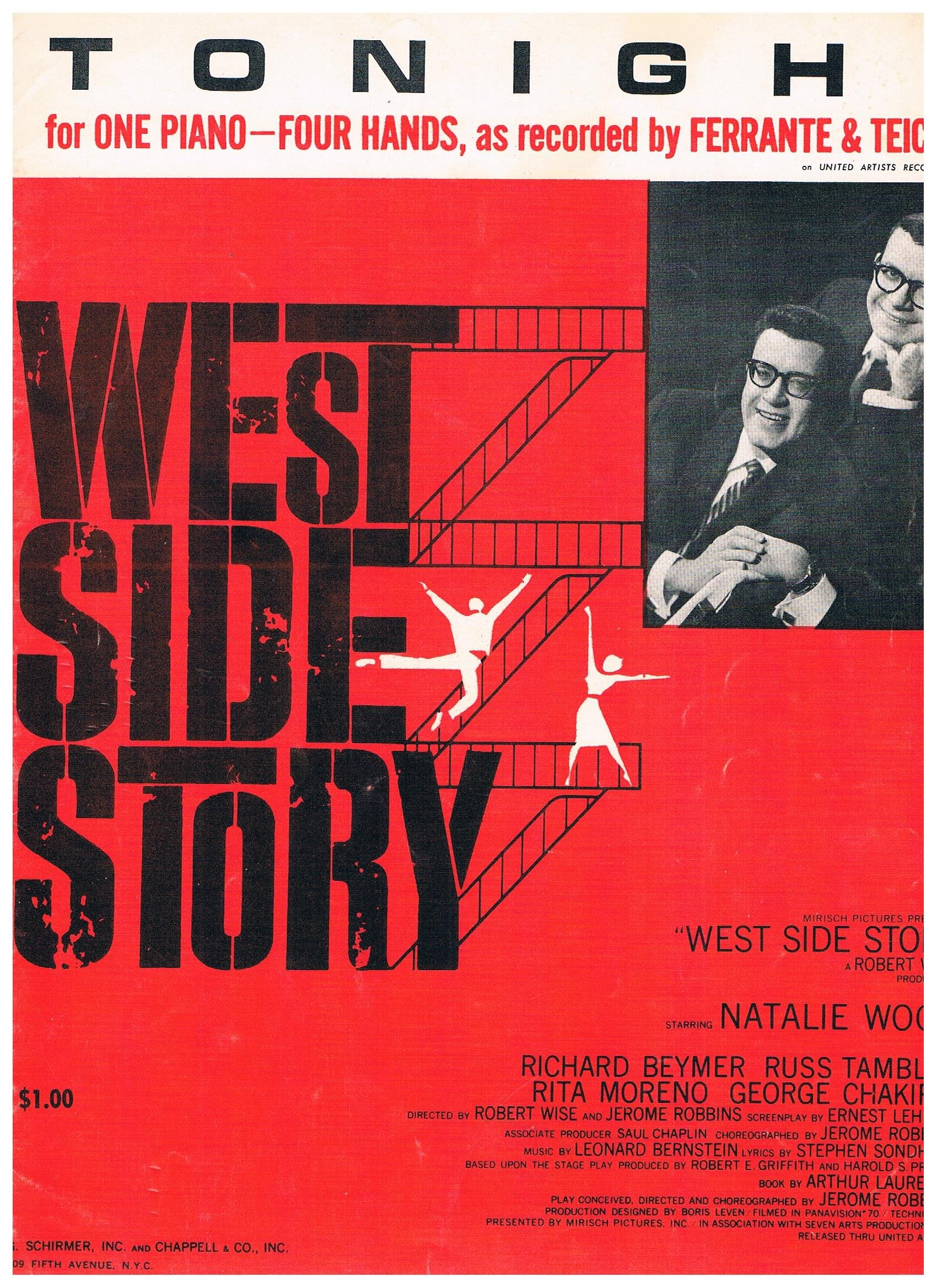 tonight from west side story as recorded by ferrante teicher sheet music one piano four hands arranged by ferrante teicher