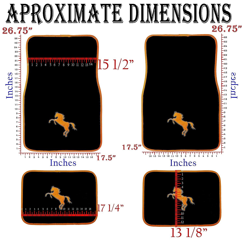 4pc Pony Horse Red White Blue Black Universal Carpet Floor Mats Set Car Truck U.A.A INC