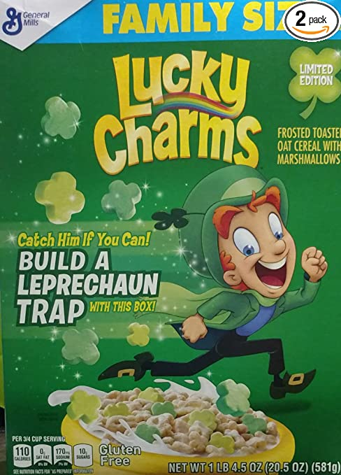 Lucky Charms Limited Edition Cereal with Green Clovers  20.5-ounce Box (Pack of 2)