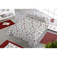 SABANALIA - Colcha Estampada Dogs (Disponible en Varios tamaños), Cama 80-170 x 280
