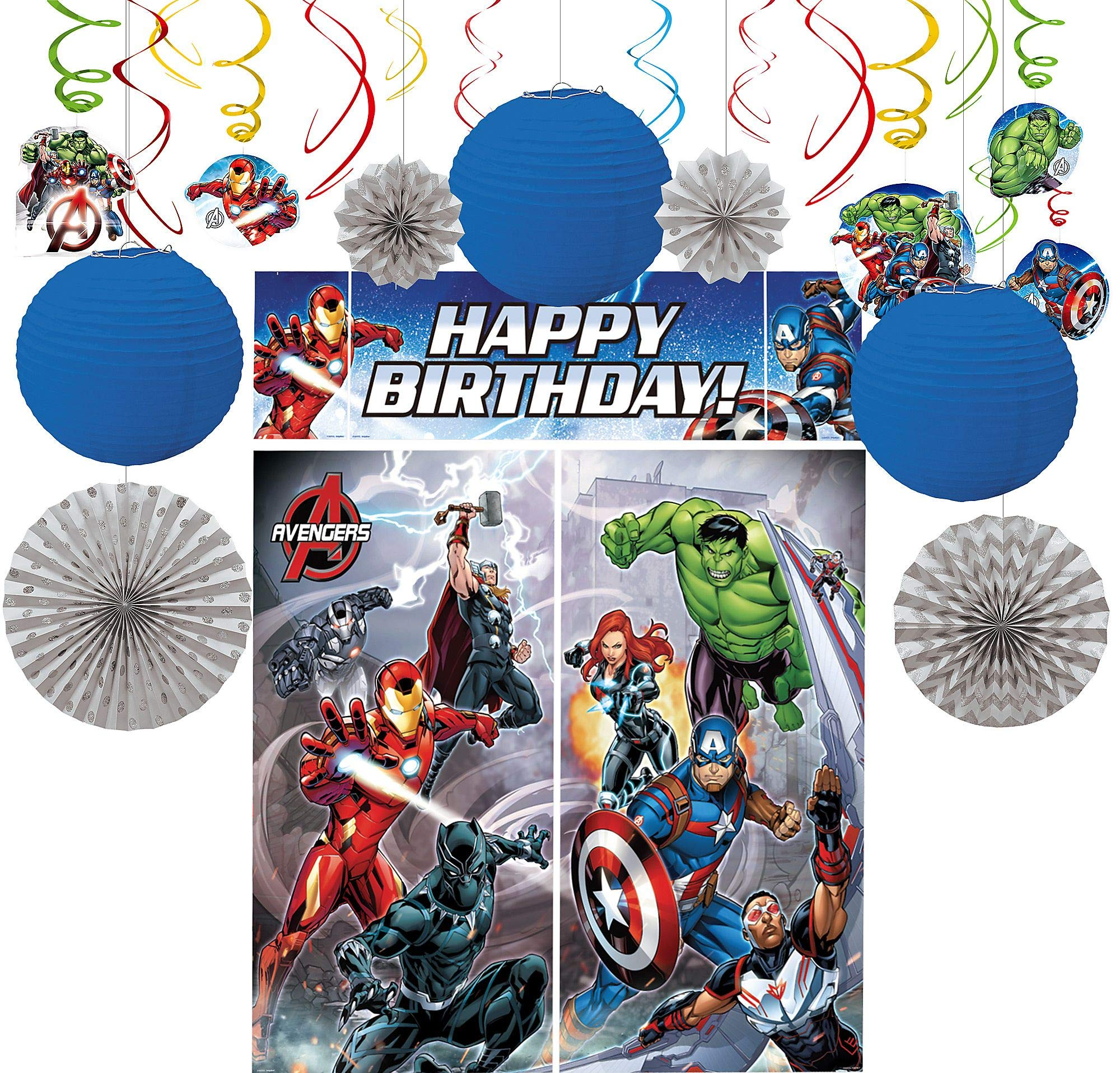 Party City Avengers Decorating Supplies, Include Paper Lanterns, Hanging Swirls and Fans, and a Photo Booth with Props