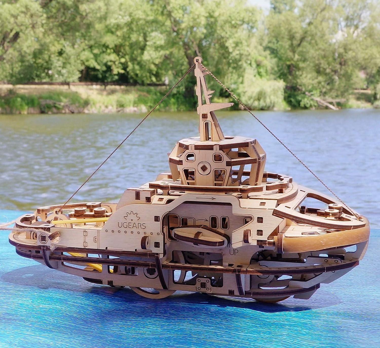 DIY Brainteaser Tugboat Ugears 3D Mechanical Wooden Model for Self Assembling