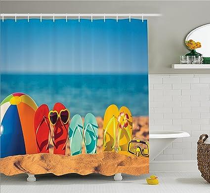 f44df679ea4df Amazon.com  Ambesonne Summer Decor Shower Curtain by